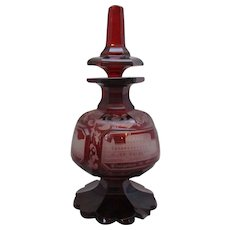 Antique Bohemian Ruby Flashed Engraved Scent Bottle c1860.
