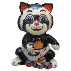 English Porcelain Kitten Signed Lorna Bailey Vintage 20th Century.