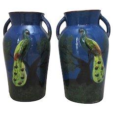 English Ceramic Pair Of Royal Torquay Vases Vintage 20th Century.