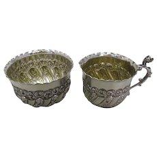 English Silver Milk Jug & Sugar Bowl Antique c.1895-c.1901.
