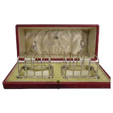 English Silver Pair Of Boxed Toast racks Antique c.1919.