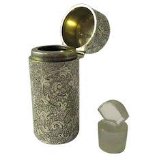 Sterling Silver Cased Scent Bottle By Sampson Morden Antique 1882.