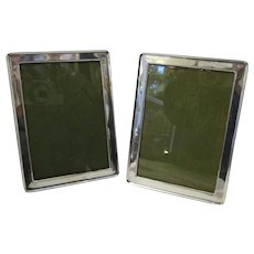 Pair Of Sterling Silver Fronted Photo Frames Art Deco Birmingham 1922.