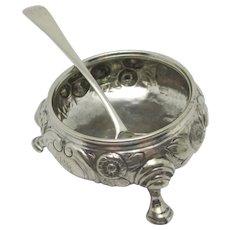 Tableware Pair of Salts & Spoons Sterling Silver Antique Georgian English 1773.