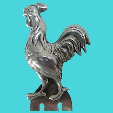 Cockerel Rooster Sterling Silver Page Book Mark Vintage English.