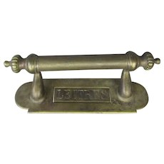 French Brass Door Handle With Letter Flap Antique c1900
