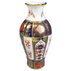 Royal Crown Derby Old Imari Pattern Vase Vintage 1994