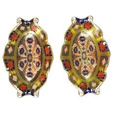 Pair of Royal Crown Derby Old Imari Pattern Pin Dishes Vintage 1995