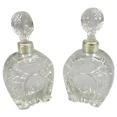 Pair of Sterling Silver Cut Glass Cologne Bottles Victorian 1899