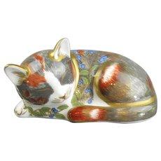 Royal Crown Derby Cat Nip Kitten Paperweight Vintage 1997