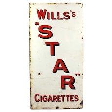Will's Star Cigarettes Original Enamel Display Sign Antique c1900