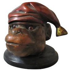 Painted Bronze Ape Head Ink Pot Vintage 20th Century.