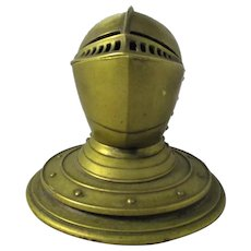 Brass Armour Helmet Ink Pot Antique c.1890.