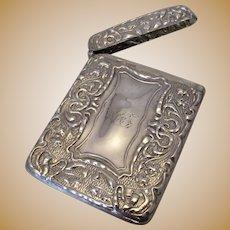 English Silver Card Case Antique c.1903.