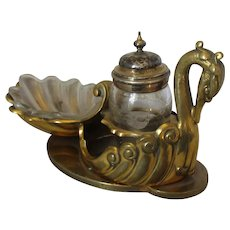 Antique Victorian Gilt Brass & Glass Condiment Set in Form of a Swan by Elkington c1875.