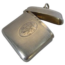 Antique Monogrammed Sterling Silver Vesta Case by A&J Zimmerman c1896.