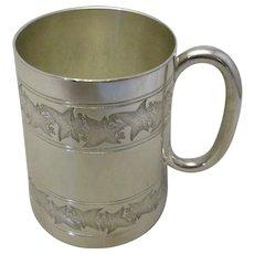Silver Plate Christening Mug Antique Victorian 1890.