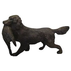 Bronze Hunting Dog With Catch Vintage 20th Century.