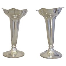 Sterling Silver Pair Of Charles Edwards Vases Antique London 1902.