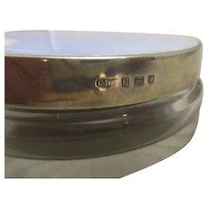 Ladies Art Deco Silver & Enamel Topped Glass Jar c1937.