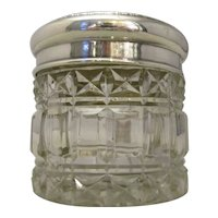 Sterling Silver Topped Glass Vanity Jar Antique c1912.