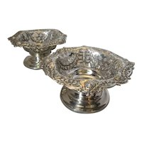 Pair of Antique English Sterling Silver Bon Bon Dishes by Goldsmiths Co c1898.