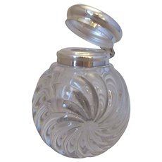 Cut glass Scent Bottle with Silver Plate Lid Antique c1900.