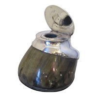 Antique Horses Hoof Silver Plated Inkwell c1890.