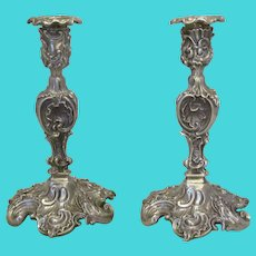 Silver Plate Pair Of Elkington Style Candlestick Holders Antique c.1900.