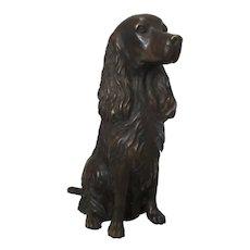 Bronze Cocker Spaniel Dog Figurine Vintage 20th Century.