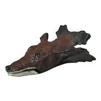 Bronze Painted Wall Clip In The Form Of A Fox Vintage 20th Century.