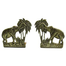 Pair Of Brass Elephant Bookends Antique Victorian C1890.
