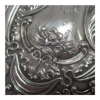 Forget Me Not Sterling Silver Ladies Hand Mirror Antique Edwardian English 1901.