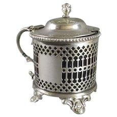 Decorative Mustard Pot Silver Plate Antique c1890