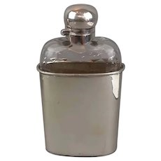 Silver Plate Hip Flask Antique Victorian c1890