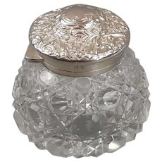 Sterling Silver Cut Glass Ink Well Antique Victorian 1899