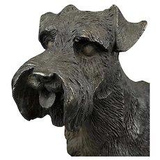 Bronze Statue of Schnauzer Dog Vintage c1980