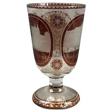 Bohemian Burgundy And Clear Engraved Goblet Antique Victorian C1900