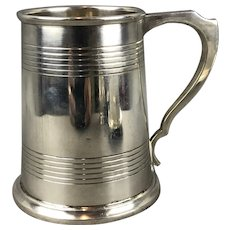 Sterling Silver Christening Mug Tankard By James Dixson Vintage Sheffield 1946