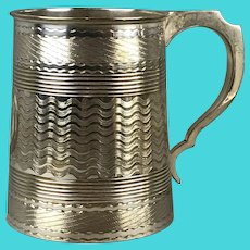 Silver Plate Tankard Mug Victorian Antique c1890