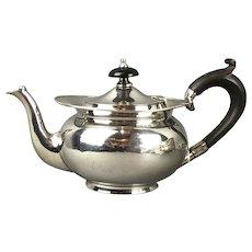 Sterling Silver Wood Handle Tea Pot Antique Art Nouveau c1907