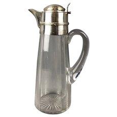Sterling Silver Top Glass Claret Wine Jug French Antique Art Nouveau c1905