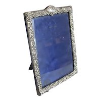 Larger Standing Portrait Sterling Silver Photo Frame Antique c1901