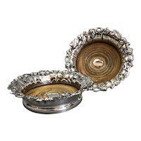Pair Of Ornate Silver Plate Wine Coasters Antique Georgian Old Sheffield c1830