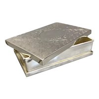 Silver Plate Engraved Folding Box Antique Victorian c1900
