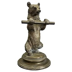 Standing Bear Brass Ink Stand Antique Victorian c1900