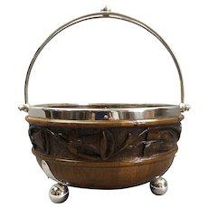 Carved Oak Silver Plate Bowl Antique Victorian c1900