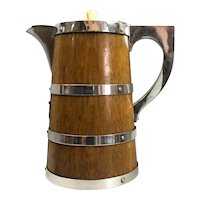 Oak And Silver Plate Coffee Pot Victorian Antique c1890