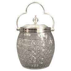 Silver Plate And Cut Glass Biscuit Barrel Victorian Antique c1900