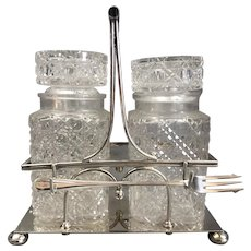 Mappin & Webb Silver Plate And Cut Glass Pickle Jugs On Stand Victorian Antique c1900
